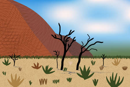 Beautiful desert view with stylized mountains, trees, grass and bushes. Bright day light. Illustration