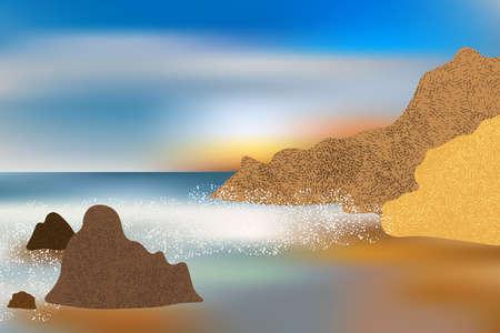 Waves crash against coastal stones and rocks, sea foam. Illustration