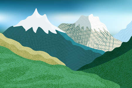 Cold season in stylized mountains, snow hats, green hills, trees and grass.