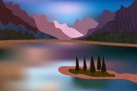 Beautiful mountains view over water surface and pine trees. Illustration