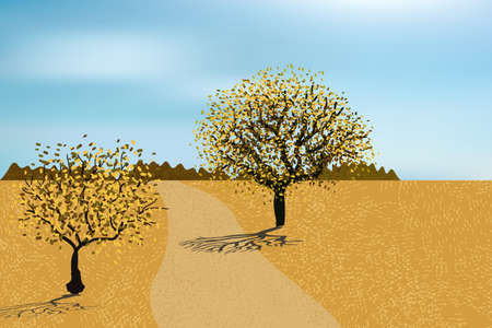 Autumn day in outdoor, clear blue sky, golden field , beautiful tree and distant forest. Illustration