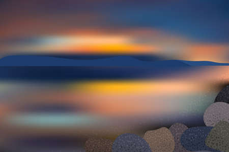 Beautiful sunset over the sea with mountain and rocks view. Illustration