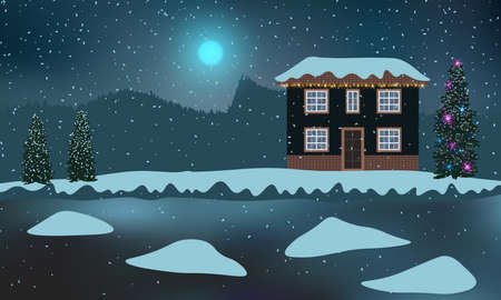 House with a Christmas tree and decorations on a snowy shore. Beautiful winter night with frozen water and snowdrifts .