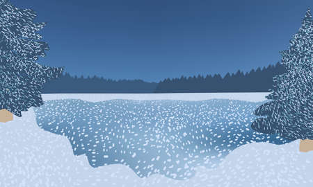 Frozen water covered with snow surrounded by fir trees, beautiful winter night.