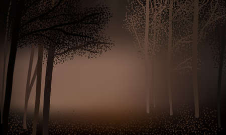 Dark foggy night in the autumn forest, silhouettes of trees, leaves falling on the ground.