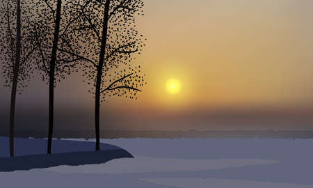 Beautiful winter sunset, camp covered with snow, trees on a hill.