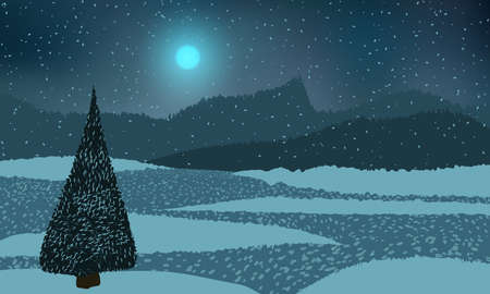 Winter snowy night outdoor, distant forest, lonely fir tree, bright shining Moon.