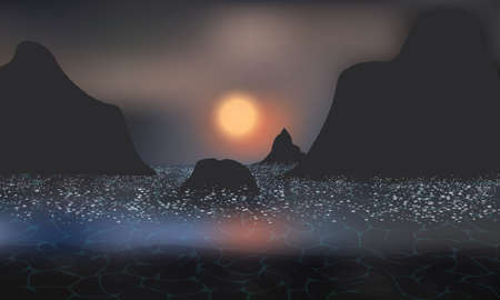 Dark mysterious sunset on a rocky shore. Sea foam reflects the setting Sun.