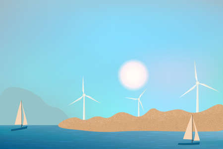 Wind turbines, ecological power generators, standing on the hills. Sea beach view with rocks and sailing yachts.