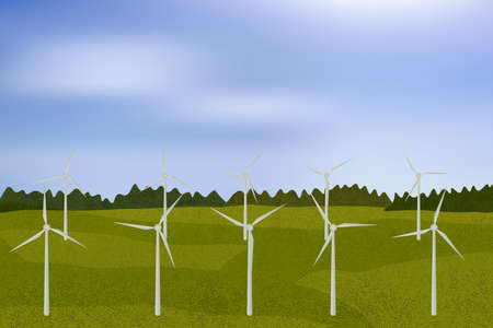 Wind turbines, ecological power generators, standing on the green camp with distant bushes. Ilustracje wektorowe