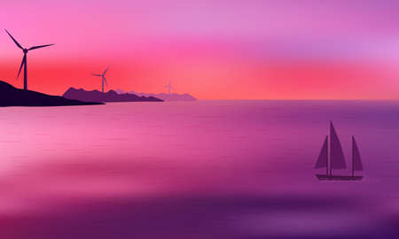 Beautiful mauve sunset with wind power generators on distant hills and sailing yacht.