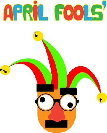 Vector illustration for april fools, featuring a funny face with groucho marx glasses and jester hat, organized by layers face-hat-text. The text is handdrawed