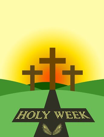Holy week themed poster, with three crosses in front of the sunrise and projected cross shadow with text and palm leafs inside. Ilustração