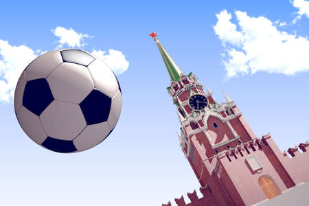 Russia, Moscow, 2018 year. 3d rendering the soccer ball. Useful for any graphics design o