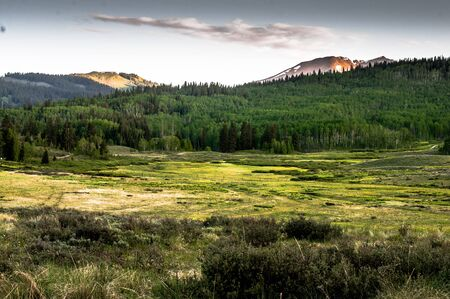 Mountain vista with Slate river in foreground near Crested Butte Colorado Reklamní fotografie