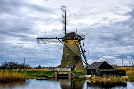 Windmills of Kinderdijk, South Holland Banco de Imagens