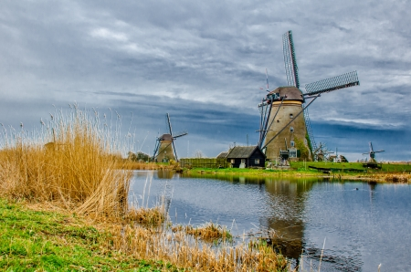 dutch: Windmills of Kinderdijk, South Holland Stock Photo