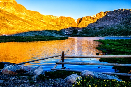 mount evans: Alpen-Glow at Summit Lake Park along the Mount Evans Scenic Byway Stock Photo