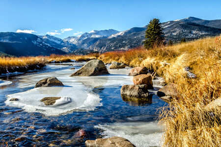 Stream in Moraine Park in Rocky Mt  National Park