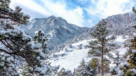 The Boulder Flatirons after a snowfall
