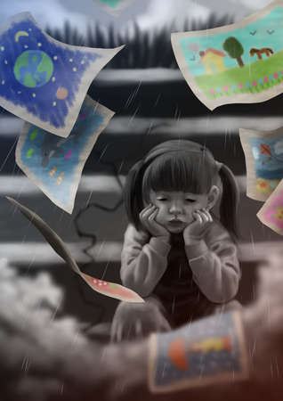 女の子の感情について話すことができない、彼女は彼女の感情を描画します。 写真素材