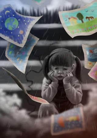 Niña no puede hablar de emociones, que atrae a sus sentimientos.