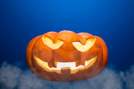 Halloween pumpkins with terrifying expressions