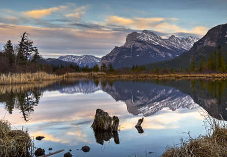 Cloudy Sunset at Vermilion Lakes, Banff, Alberta, Canada.