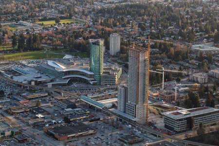 Aerial view of Surrey Central with New Highrise Construction. Picture taken in British Columbia, Canada. Stock Photo