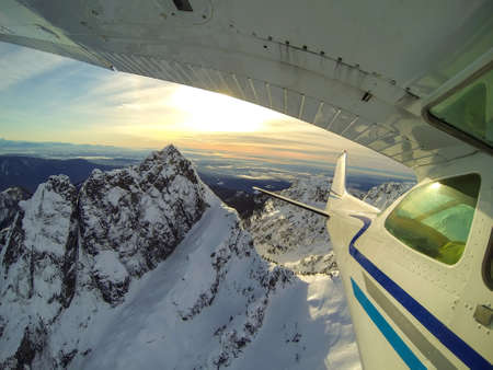 Flying around the beautiful mountains of British Columbia, Canada. Picture taken north of Vancouver, BC. Reklamní fotografie