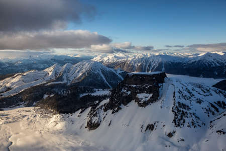 Table Mountain with Garibaldi Lake in the Background from an aerial perspective. Picture taken near Whistler, British Columbia, Canada. Stock Photo