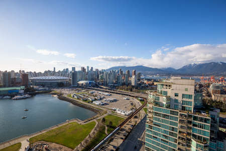 Aerial view of False Creek in Downtown Vancouver, BC, Canada.