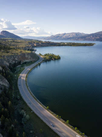 Aerial panoramic view of Okanagan Lake during a sunny summer day. Taken near Penticton, BC, Canada.