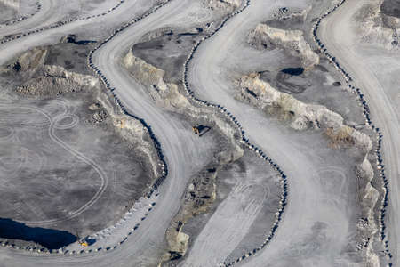 Aerial view of Coal Mining Industry on Texada Island, Powell River, Sunshine Coast, BC, Canada.