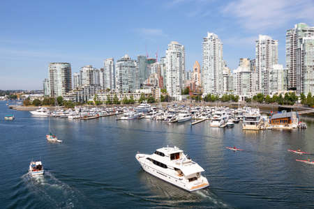 Vancouver, BC, Canada - August 5, 2018: Aerial view of False Creek during a sunny summer day.
