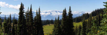 Beautiful panoramic landscape view during a vibrant sunny summer day. Taken in Garibaldi Provincial Park, located near Whister and Squamish, North of Vancouver, BC, Canada. Stock Photo