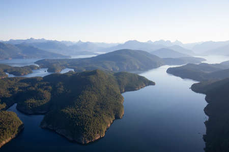 Aerial view of Nelson Island during a sunny summer day. Taken in Sunshine Coast, BC, Canada.