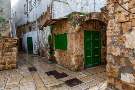 Dirty streets in the Old City of Akko. Taken in Acre, Israel. Stock Photo