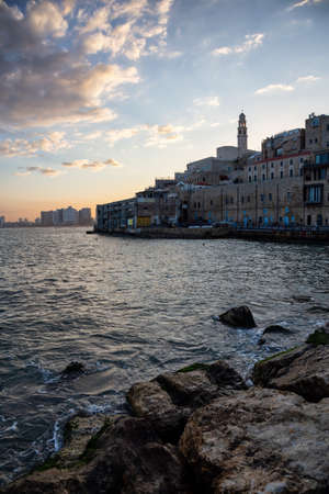 Beautiful view of a Port of Jaffa during a colorful sunrise. Taken in Tel Aviv-Yafo, Israel.
