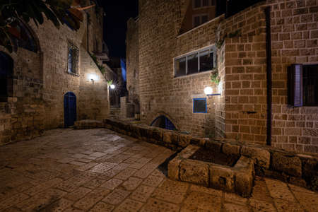 Night view in the alley ways at the Historic Old Port of Jaffa. Taken in Tel Aviv, Israel. Banco de Imagens - 127751980