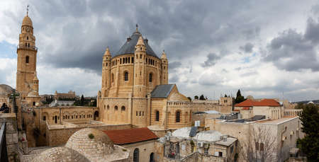 Panoramic View of King David's Tomb in the Old City during a cloudy day. Taken in Jerusalem, Israel. Archivio Fotografico