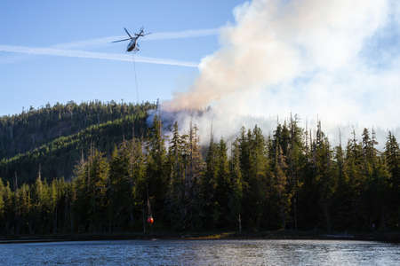 Helicopter fighting BC forest fires during a hot sunny summer day. Taken near Port Alice, Northern Vancouver Island, British Columbia, Canada. 스톡 콘텐츠
