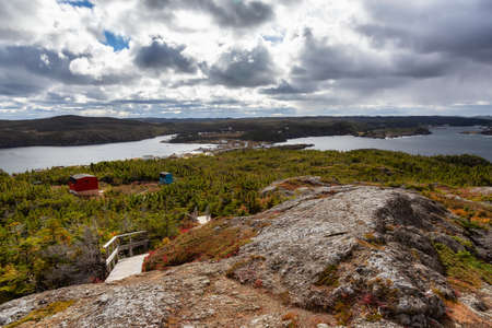 View of a Canadian Landscape on the Atlantic Ocean Coast during a cloudy morning. Taken in Pikes Arm, Newfoundland and Labrador, Canada.