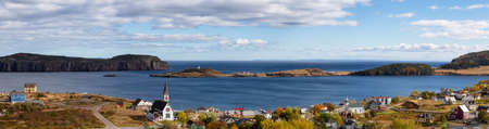 Aerial panoramic view of a small town on the Atlantic Ocean Coast during a sunny day. Taken in Trinity, Newfoundland and Labrador, Canada. 스톡 콘텐츠