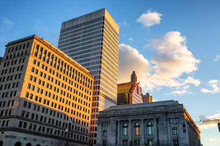 Scenic view of a beautiful modern downtown city during a vibrant sunset. Taken in Providence, Rhode Island, United States.