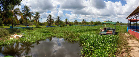 Ciego de Avila, Central Cuba. Panoramic View of a lake at a Park in a small Cuban Town during a cloudy and sunny summer day.