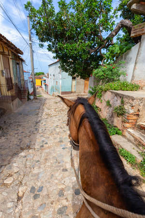Riding on top of a Horse in the streets of a small Cuban Town during a vibrant sunny day. Taken in Trinidad, Cuba. Banco de Imagens