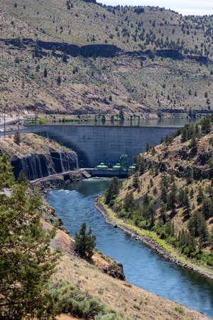 View of a Dam during a sunny summer day. Madras, Oregon, United States of America. Stock Photo