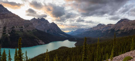 Canadian Rockies and Peyto Lake viewed from the top of a mountain during a vibrant summer sunset. Taken in Icefields Parkway, Banff National Park, Alberta, Canada.