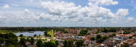 Aerial Panoramic view of a small Cuban Town, Ciego de Avila, during a cloudy and sunny day. Located in Central Cuba. Archivio Fotografico